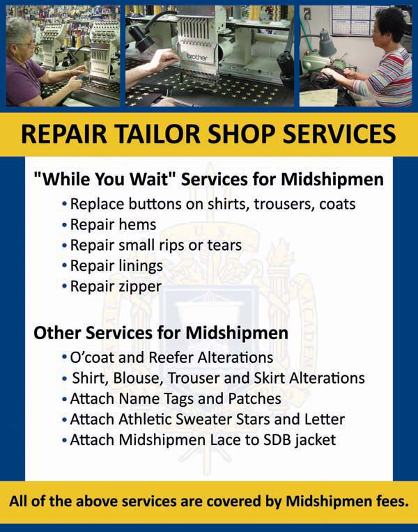 Repair Tailor Shop Midshipmen Fees